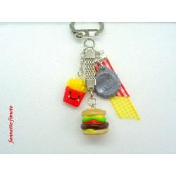 "Porte clé Fimo + Ruban ""Macdo"""