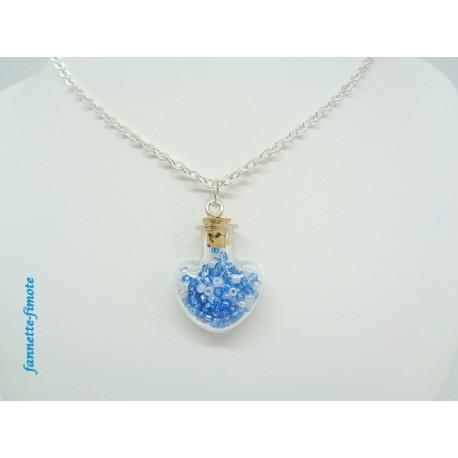 """Collier """"Fiole Coeur en Verre + Perles de Rocaille"""" Bleu/Blanc"""