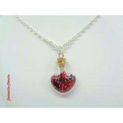 """Collier """"Fiole Coeur en Verre + Perles de Rocaille"""" Rouge/Noir"""