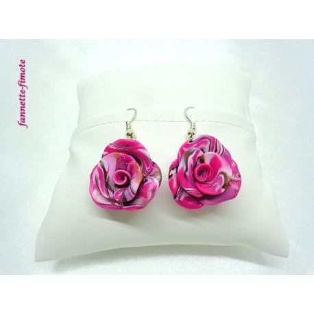 """Boucles d'oreilles Fimo """"Rose"""""""