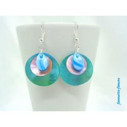 """Boucles d'oreilles Fimo """"Mini Goutte"""" Bleu Turquoise + Nacres Rose/bleu"""