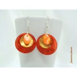 "Boucles d'oreilles Fimo ""Mini Goutte"" Orange + Nacres Ocre/Orange"