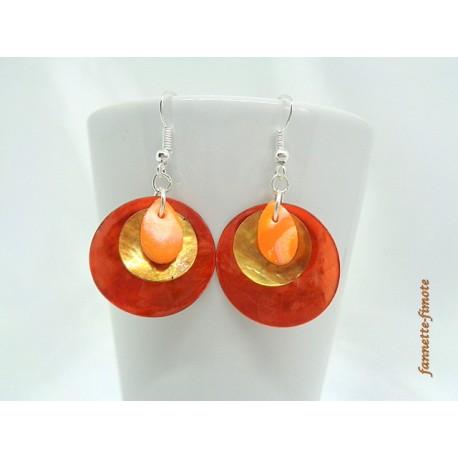 """Boucles d'oreilles Fimo """"Mini Goutte"""" Orange + Nacres Ocre/Orange"""