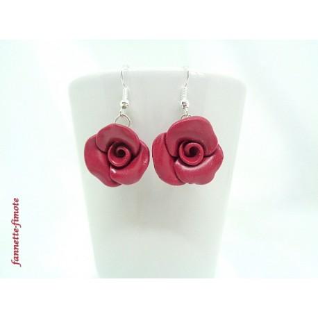 """Boucles d'oreilles Fimo Fleur """"Rose"""" Merlot"""