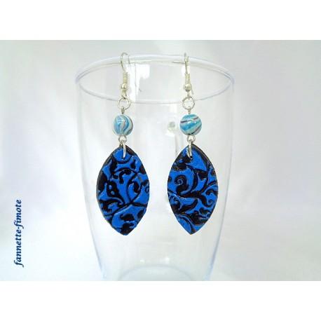 Boucles d'oreilles Fimo Imprimé Noir/Bleu