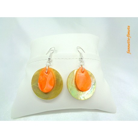 "Boucles d'oreilles Fimo ""Goutte"" Orange + Nacre"