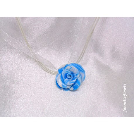 "Collier Fimo Fleur ""Rose"" Turquoise/Blanc"