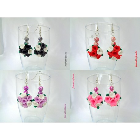 """Boucles d'oreilles Fimo """"Bouquet de Fleurs"""""""