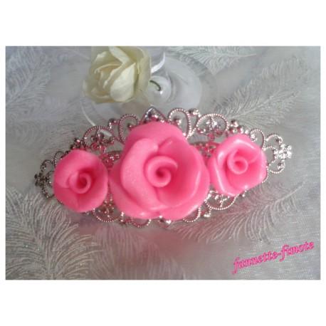 """Barrette à Cheveux Filigrane Argentée Fimo """"Roses"""" Glamour"""