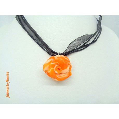 "Collier Fimo Fleur Halloween ""Rose"" Orange"