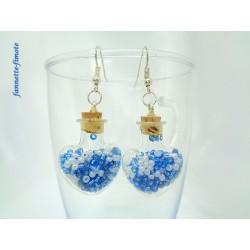 """Boucles d'oreilles """"Fiole Coeur Verre + Perles de Rocaille"""" Bleu/Blanc"""