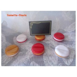 Lot 2 Marques Places ou Portes Noms Macarons Fimo Rouge/Or/Blanc