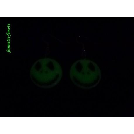 Boucles d'oreilles Fimo Mister Jack Phosphorescent