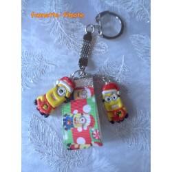 """Porte clé Enfant Fimo """"Minions"""" Noël"""