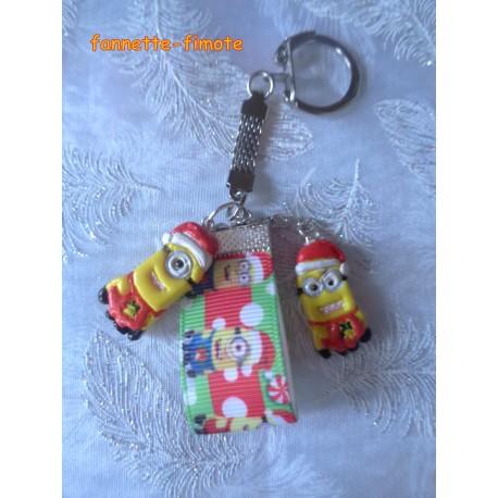 """Porte clé Noël Enfant Fimo """"Minions"""""""