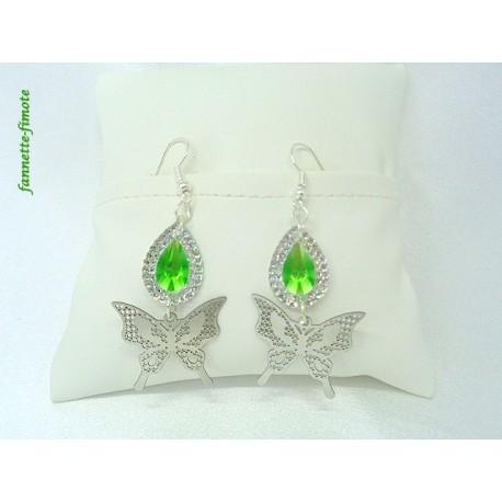 Boucles d'oreilles Goutte Verte + Papillon