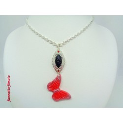 Collier Sautoir Papillon Rouge