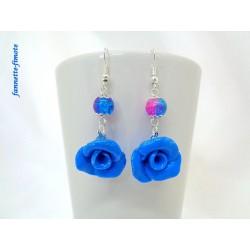 """Boucles d'oreilles Fimo """"Rose Excellence"""" Bleu"""