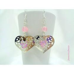 Boucles d'oreilles Coeur argent + Rose