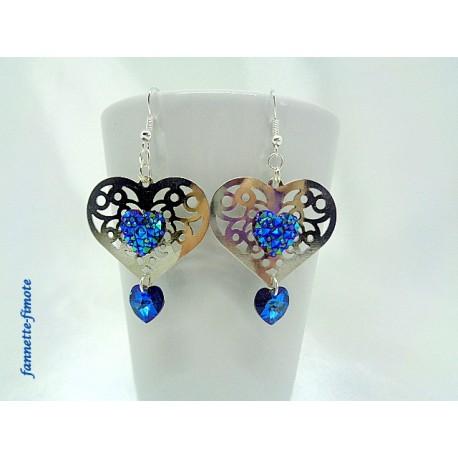 Boucles d'oreilles Coeur argent + Swarovski Bleu