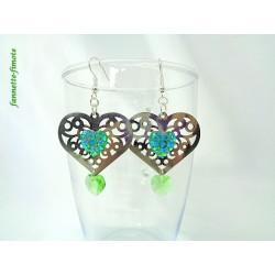 Boucles d'oreilles Coeur argent + Swarovski Vert