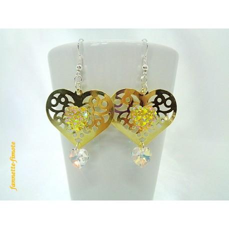 Boucles d'oreilles Coeur doré + Swarovski Cristal
