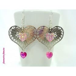 Boucles d'oreilles Coeur filigrané argent + Swarovski