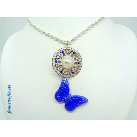 Collier Sautoir Papillon Bleu