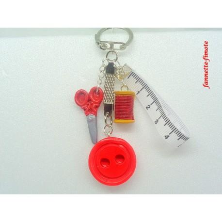 Porte clé Fimo Couture Rouge