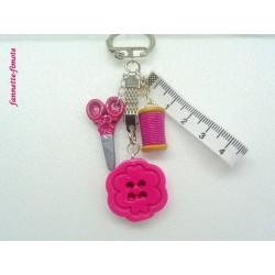 Porte clé Fimo Couture Rose