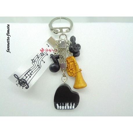 Porte clé Fimo Musique