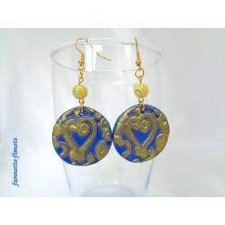 Boucles d'oreilles Fimo Bleu Imprimé Coeur