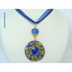 Collier Fimo Bleu Imprimé Coeur