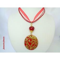 Collier Fimo Rouge Imprimé Coeur