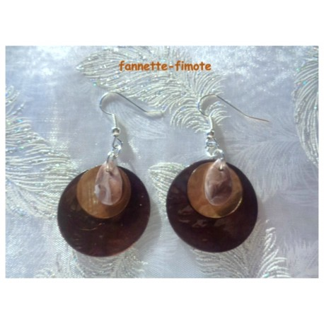 "Boucles d'oreilles Fimo ""Mini Goutte"" Marron + Nacres Ocre/Marron"