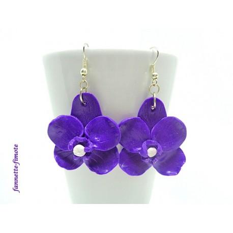 Boucles d'oreilles Fimo Orchidée Violette