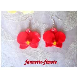Boucles d'oreilles Fimo Orchidée Rouge