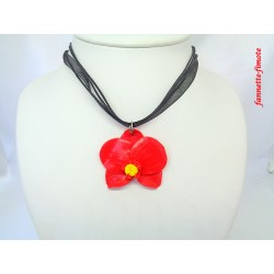 Collier Fimo Orchidée Rouge