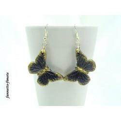 Boucles d'oreilles Fimo Papillons Noir