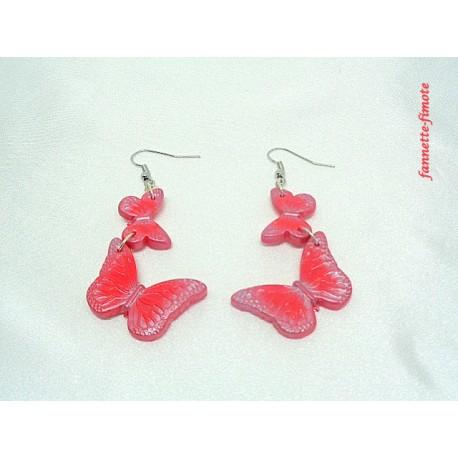 Boucles d'oreilles Fimo Envolée de papillons