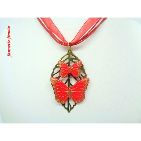 """Collier Fimo """"Papillons"""" Rouge + Estampe Feuille Bronze"""