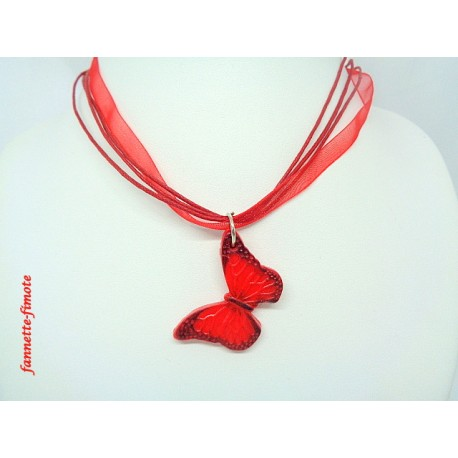"Collier Fimo ""Papillon"" Rouge"