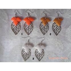 """Boucles d'oreilles Fimo """"Feuille d'érable"""" Orange + Estampe feuille bronze"""