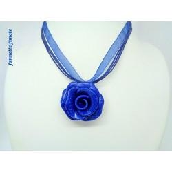 """Collier Fimo Fleur """"Rose"""" Bleu"""
