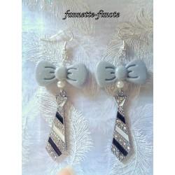 """Boucles d'oreilles Fimo """"Chic"""" Cravate"""