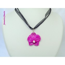 Collier Fimo Orchidée Rose/Blanc