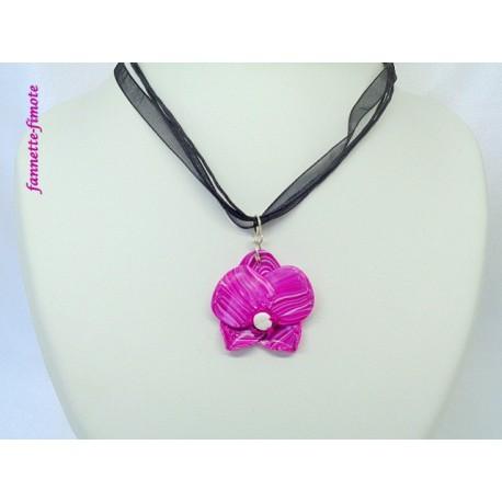 Collier Fimo Orchidée Rose/Blanc