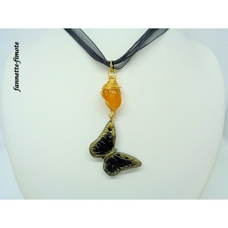 Collier Fimo Pierre + Papillon