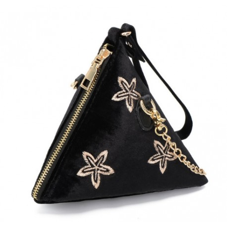 Sac Triangle Velours Noir