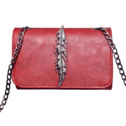Pochette Cuir Rouge Feuille